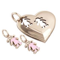 Μενταγιόν Καρδιά με δύο κοριτσάκια / Ασημένιο, χειροποίητο, ροζ επιχρυσωμένο με ροζ σμάλτο