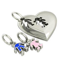 Μενταγιόν καρδιά με Αγοράκι Κοριτσάκι / Ασημένιο, χειροποίητο,  επιπλατινωμένο με μπλε & ροζ σμάλτο