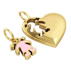 Μενταγιόν Καρδιά με Κοριτσάκι / Ασημένιο, χειροποίητο, επιχρυσωμένο με ροζ σμάλτο