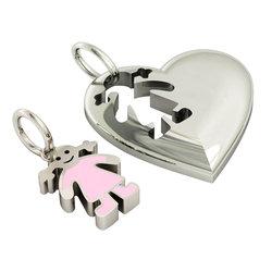 Μενταγιόν Καρδιά με Κοριτσάκι / Ασημένιο, χειροποίητο, επιπλατινωμένο με ροζ σμάλτο
