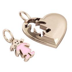 Μενταγιόν Καρδιά με κοριτσάκι / Ασημένιο, χειροποίητο, ροζ επιχρυσωμένο με ροζ σμάλτο