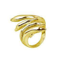 Μοντέρνο Δαχτυλίδι 42 με αναδυόμενα δελφίνια / Ασημένιο, χειροποίητο, επιχρυσωμένο