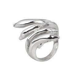 Μοντέρνο Δαχτυλίδι 42 με αναδυόμενα δελφίνια / Ασημένιο, χειροποίητο, επιπλατινωμένο