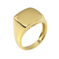 Μοντέρνο Σεβαλιέ Δαχτυλίδι 49 με Δυνατότητα Χάραξης  / Ασημένιο, χειροποίητο, επιχρυσωμένο
