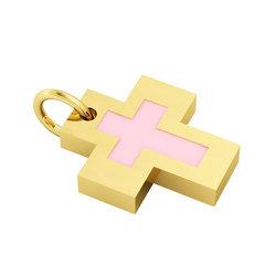 Σταυρός με εσωτερικό σταυρό / Ασημένιος, χειροποίητος, επιχρυσωμένος με ροζ σμάλτο