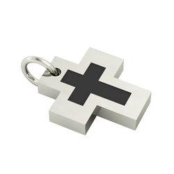 Σταυρός με εσωτερικό σταυρό / Ασημένιος, χειροποίητος,  επιπλατινωμένος με μαύρο σμάλτο