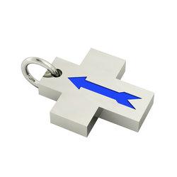 Σταυρός Βέλος / Ασημένιος, χειροποίητος, επιπλατινωμένος με μπλε σμάλτο