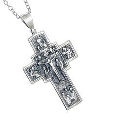 Ορθόδοξος Ρώσικος Σταυρός Ευλογίας 2412 με τον Ιησού Χριστό Εσταυρωμένο / Ασημένιος, χειροποίητος, διπλής όψεως με αλυσίδα / μπροστινή όψη