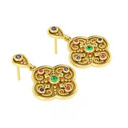 Βυζαντινά Σκουλαρίκια 1 σε σχήμα σταυρού / Ασημένια, χειροποίητα, κίτρινα επιχρυσωμένα με χρωματιστές συνθετικές πέτρες