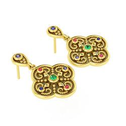 Βυζαντινά Σκουλαρίκια 1 σε σχήμα σταυρού / Ασημένια, χειροποίητα, δίχρωμα, κίτρινο - μαύρο με πατίνα και χρωματιστές συνθετικές πέτρες