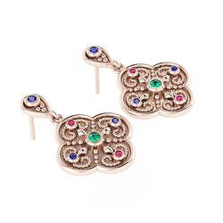 Βυζαντινά Σκουλαρίκια 1 σε σχήμα σταυρού / Ασημένια, χειροποίητα, ροζ επιχρυσωμένα με χρωματιστές συνθετικές πέτρες