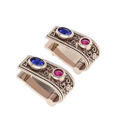 Βυζαντινά Σκουλαρίκια 101 κολλητά στο αυτί / Ασημένια, χειροποίητα, ροζ επιχρυσωμένα με χρωματιστές συνθετικές πέτρες