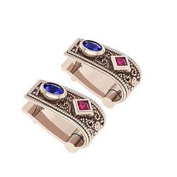 Βυζαντινά Σκουλαρίκια 102 κολλητά στο αυτί / Ασημένια, χειροποίητα, ροζ επιχρυσωμένα με χρωματιστές συνθετικές πέτρες
