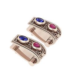 Βυζαντινά Σκουλαρίκια 103 κολλητά στο αυτί / Ασημένια, χειροποίητα, ροζ επιχρυσωμένα με χρωματιστές συνθετικές πέτρες