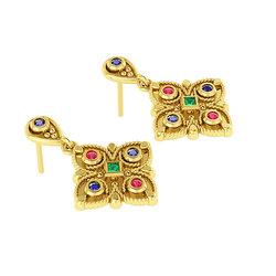 Βυζαντινά Σκουλαρίκια 2 σε σχήμα σταυρού / Ασημένια, χειροποίητα, κίτρινα επιχρυσωμένα με χρωματιστές συνθετικές πέτρες