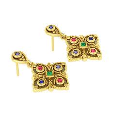 Βυζαντινά Σκουλαρίκια 2 σε σχήμα σταυρού / Ασημένια, χειροποίητα, δίχρωμα, κίτρινο μαύρο με πατίνα και χρωματιστές συνθετικές πέτρες