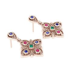 Βυζαντινά Σκουλαρίκια 2 σε σχήμα σταυρού / Ασημένια, χειροποίητα, ροζ επιχρυσωμένα με χρωματιστές συνθετικές πέτρες