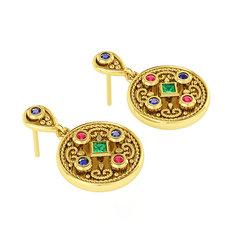 Βυζαντινά Σκουλαρίκια 3 σε στρόγγυλο σχήμα / Ασημένια, χειροποίητα, κίτρινα επιχρυσωμένα με χρωματιστές συνθετικές πέτρες