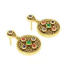 Βυζαντινά Σκουλαρίκια 3 σε στρόγγυλο σχήμα / Ασημένια, χειροποίητα, δίχρωμα, κίτρινο μαύρο με πατίνα και χρωματιστές συνθετικές πέτρες