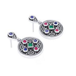 Βυζαντινά Σκουλαρίκια 3 σε στρόγγυλο σχήμα / Ασημένια, χειροποίητα, δίχρωμα, λευκό - μαύρο με πατίνα και χρωματιστές συνθετικές πέτρες