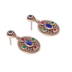 Βυζαντινά Σκουλαρίκια 4 σε οβάλ σχήμα / Ασημένια, χειροποίητα, ροζ επιχρυσωμένα με χρωματιστές συνθετικές πέτρες