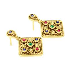 Βυζαντινά Σκουλαρίκια 5 σε σχήμα ρόμβου / Ασημένια, χειροποίητα, κίτρινα επιχρυσωμένα με χρωματιστές συνθετικές πέτρες