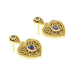 Βυζαντινά Σκουλαρίκια 6 σε σχήμα καρδιάς / Ασημένια, χειροποίητα, δίχρωμα, κίτρινο - μαύρο με πατίνα και χρωματιστές συνθετικές πέτρες