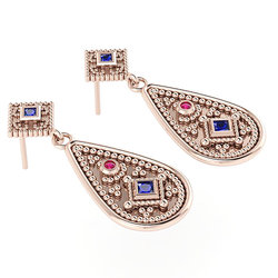 Βυζαντινά Σκουλαρίκια 7 σε σχήμα σταγόνας / Ασημένια, χειροποίητα, ροζ επιχρυσωμένα με χρωματιστές συνθετικές πέτρες