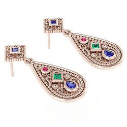 Βυζαντινά Σκουλαρίκια 8 σε σχήμα σταγόνας / Ασημένια, χειροποίητα, ροζ επιχρυσωμένα με χρωματιστές συνθετικές πέτρες