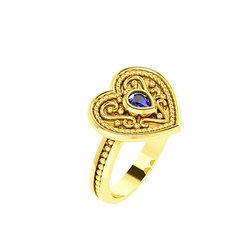 Βυζαντινό Δαχτυλίδι 6 σε σχήμα καρδιάς / Ασημένιο, χειροποίητο, κίτρινο επιχρυσωμένο με μία συνθετική πέτρα