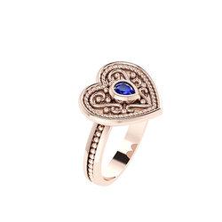 Βυζαντινό Δαχτυλίδι 6 σε σχήμα καρδιάς / Ασημένιο, χειροποίητο, ροζ επιχρυσωμένο με μία συνθετική πέτρα