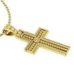 Βυζαντινός Βαπτιστικός Σταυρός 1 Unisex / Ασημένιος, χειροποίητος, κίτρινος επιχρυσωμένος