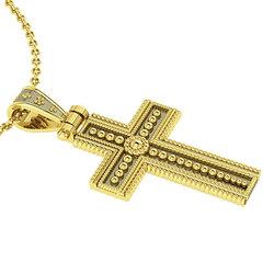Βυζαντινός Βαπτιστικός Σταυρός 1 Unisex / Ασημένιος, χειροποίητος, δίχρωμος, κίτρινο - μαύρο με πατίνα