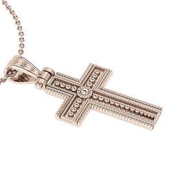 Βυζαντινός Βαπτιστικός Σταυρός 1 Unisex / Ασημένιος, χειροποίητος, ροζ επιχρυσωμένος