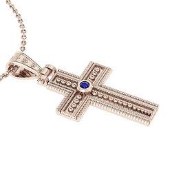 Βυζαντινός Βαπτιστικός Σταυρός 1 Unisex / Ασημένιος, χειροποίητος, ροζ επιχρυσωμένος με μία μπλε πέτρα στο κέντρο