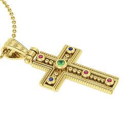 Βυζαντινός Βαπτιστικός Σταυρός 3 Γυναικείος / Ασημένιος, χειροποίητος, κίτρινος επιχρυσωμένος με έξι χρωματιστές συνθετικές στρόγγυλες πέτρες