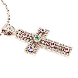 Βυζαντινός Βαπτιστικός Σταυρός 3 Γυναικείος / Ασημένιος, χειροποίητος, ροζ επιχρυσωμένος με έξι χρωματιστές συνθετικές πέτρες