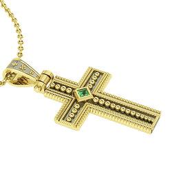 Βυζαντινός Βαπτιστικός Σταυρός 2 Unisex / Ασημένιος, χειροποίητος, δίχρωμος κίτρινο - μαύρο με πατίνα και μία πράσινη τετράγωνη πέτρα στο κέντρο