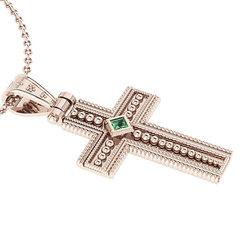Βυζαντινός Βαπτιστικός Σταυρός 4 Unisex / Ασημένιος, χειροποίητος, ροζ επιχρυσωμένος με μία τετράγωνη πράσινη πέτρα στο κέντρο