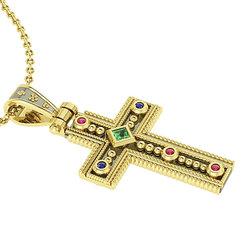 Βυζαντινός Βαπτιστικός Σταυρός 5 Γυναικείος / Ασημένιος, χειροποίητος, δίχρωμος, κίτρινο - μαύρο με πατίνα και έξι χρωματιστές συνθετικές πέτρες