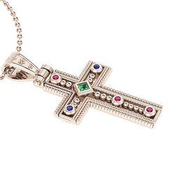 Βυζαντινός Βαπτιστικός Σταυρός 5 Γυναικείος / Ασημένιος, χειροποίητος, ροζ επιχρυσωμένος με έξι χρωματιστές συνθετικές πέτρες