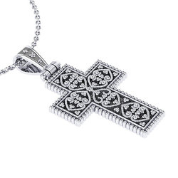 Βυζαντινός Βαπτιστικός Σταυρός 6 Unisex / Ασημένιος, χειροποίητος, δίχρωμος, λευκό μαύρο με πατίνα