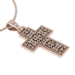 Βυζαντινός Βαπτιστικός Σταυρός 6 Unisex / Ασημένιος, χειροποίητος, ροζ επιχρυσωμένος