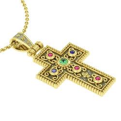 Βυζαντινός Βαπτιστικός Σταυρός 7 Γυναικείος / Ασημένιος, χειροποίητος, δίχρωμος, κίτρινο - μαύρο με πατίνα και έξι χρωματιστές συνθετικές στρόγγυλες πέτρες