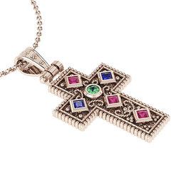 Βυζαντινός Βαπτιστικός Σταυρός 8 Γυναικείος / Ασημένιος, χειροποίητος, ροζ επιχρυσωμένος με έξι χρωματιστές συνθετικές πέτρες