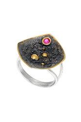 γυναικείο δαχτυλίδι, χειροποίητο, αρχαϊκής τεχνοτροπίας, με συνθετικό ρουμπίνι σε ασήμι 925' / 2DA0199
