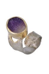 γυναικείο δαχτυλίδι, με ντρουζ αμέθυστο, χειροποίητο, σε ασήμι 925', επιχρυσωμένο / 2DA0302