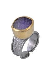 γυναικείο δαχτυλίδι, με ντρουζ αμέθυστο, χειροποίητο, σε ασήμι 925', επιχρυσωμένο / 2DA0304