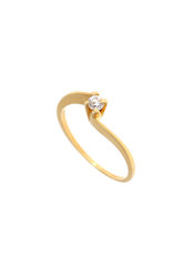 γυναικείο δαχτυλίδι, μονόπετρο με ζιργκόν, κρουαζέ, σε χρυσό Κ14 / 1DA2803 logo