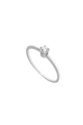 γυναικείο δαχτυλίδι, μονόπετρο με ζιργκόν, κρουαζέ, σε λευκό χρυσό Κ14 / 1DA2806